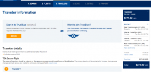 NYC to Liberia: JetBlue Booking Page