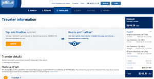 NYC to SF: JetBlue Booking Page