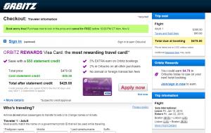 Boston to Lisbon:Orbitz Booking Page
