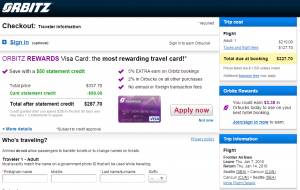 Seattle to Cancun: Orbitz Booking Page