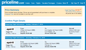 Chicago to LA: Priceline Booking Page
