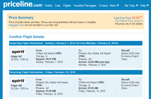 Chicago to Phoenix: Priceline Booking Page