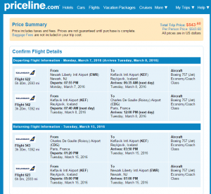 NYC to Paris: Priceline Booking Page