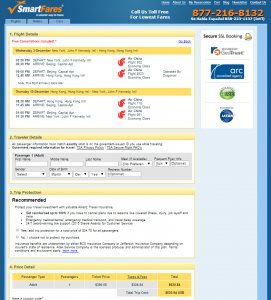 NYC to Hong Kong: SmartFares Booking Page