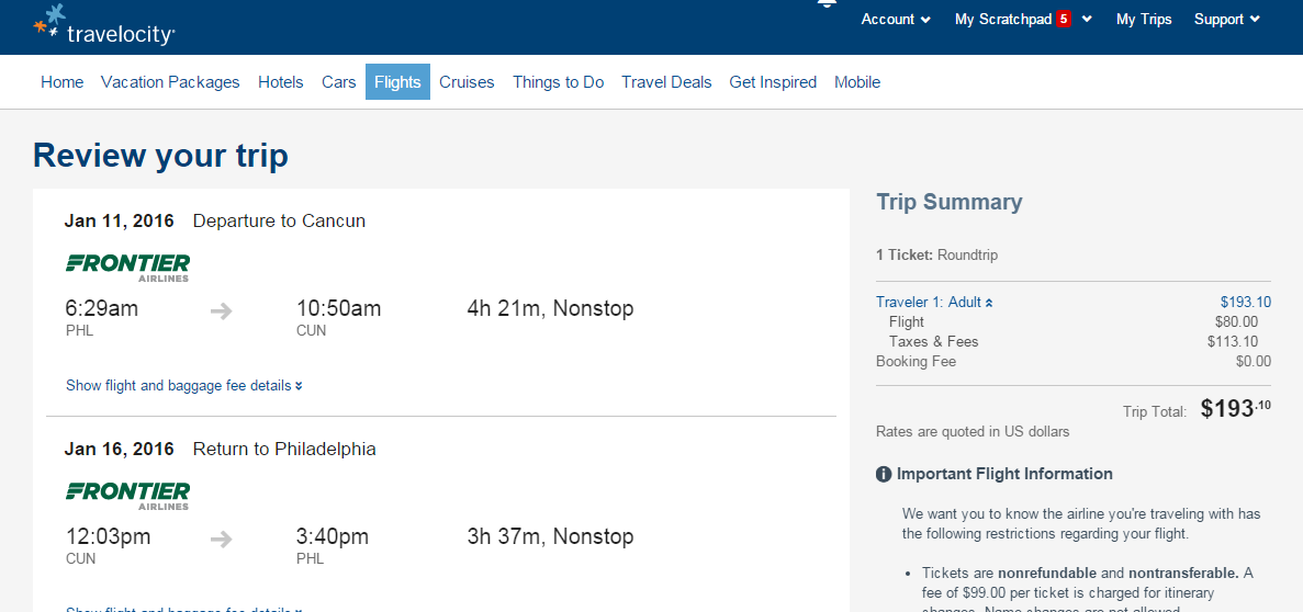 Philly To Cancun Travelocity Booking Page