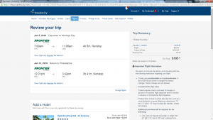 Philly to Montego Bay: Travelocity Booking Page