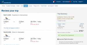 D.C. to Johannesburg: Travelocity Booking Page