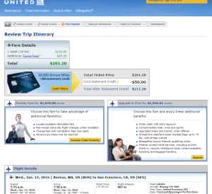 Boston to SF: United Booking Page