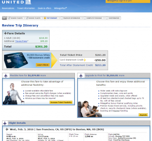 SF to Boston: United Booking Page