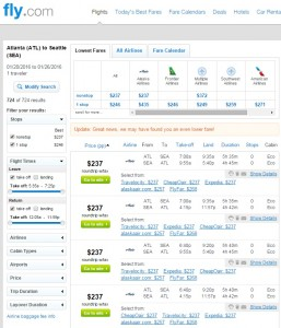 Atlanta to Seattle: Fly.com Results