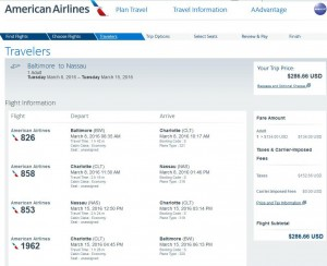 Baltimore-Nassau: American Airlines Booking Page