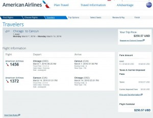 Chicago-Cancun: American Airlines Booking Page