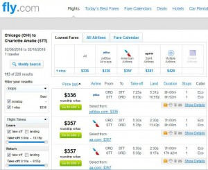 Chicago-Charlotte Amalie: Fly.com Search Results