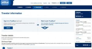 Chicago-Charlotte Amalie: JetBlue Booking Page