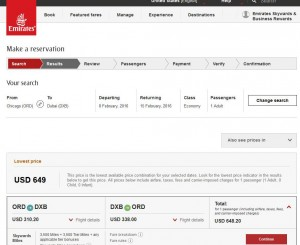 Chicago-Dubai: Emirates Airlines Booking Page