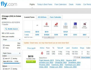 Chicago-Dubai: Fly.com Search Results