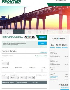 Chicago-Fort Myers: Frontier Airlines Booking Page