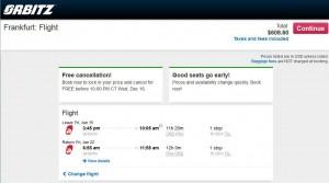 Chicago-Frankfurt: Orbitz Booking Page