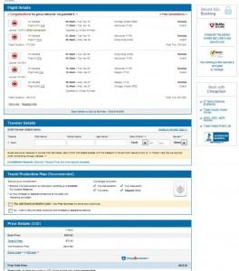 Chicago-Hong Kong: CheapoAir Booking Page
