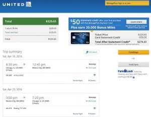 Chicago-Mexico City: United Airlines Booking Page