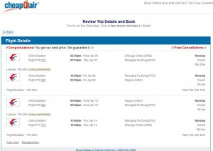 Chicago-Nagoya: CheapOair Booking Page