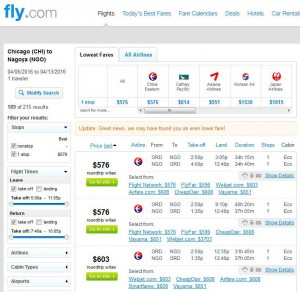 Chicago-Nagoya: Fly.com Search Results