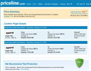 Chicago-Orlando: Priceline Booking Page
