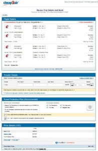 Chicago-Osaka: CheapOair Booking Page