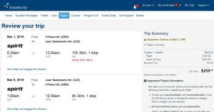 Chicago-San Jose: Travelocity Booking Page