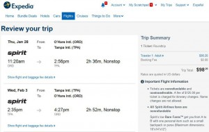 Chicago-Tampa: Expedia Booking Page