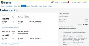 Cleveland-Las Vegas: Expedia Booking Page