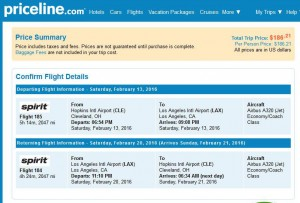 Cleveland-Los Angeles: Priceline Booking Page