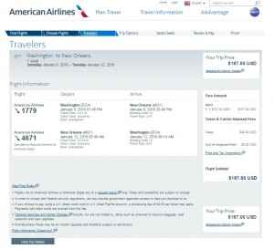D.C. to New Orleans: AA Booking Page
