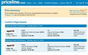 Dallas-Cancun: Priceline Booking Page