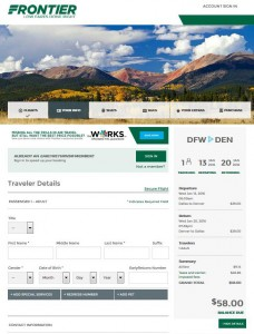 Dallas-Denver: Frontier Airlines Booking Page