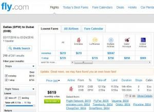 Dallas-Dubai: Fly.com Search Results