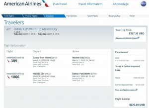 Dallas-Mexico City: American Airlines Booking Page