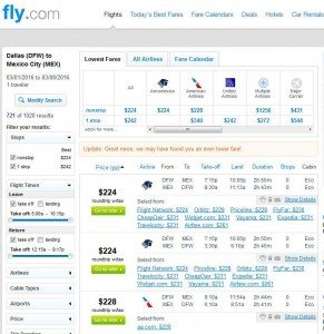 Dallas-Mexico City: Fly.com Search Results