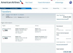Dallas-Miami: American Airlines Booking Page