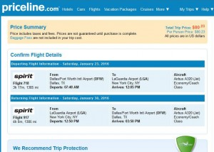 Dallas-New York City: Priceline Booking Page