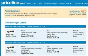 Denver-San Diego: Priceline Booking Page
