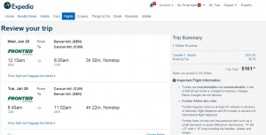 Denver to Cancun: Expedia Booking Page