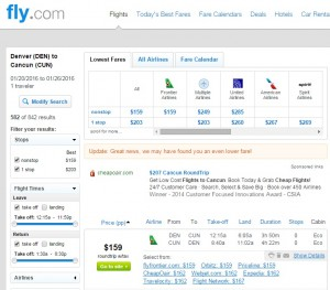 Denver to Cancun: Fly.com Results