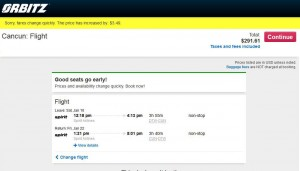 Detroit-Cancun: Orbitz Booking Page