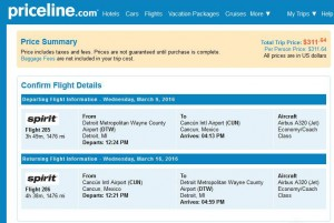 Detroit-Cancun: Priceline Booking Page
