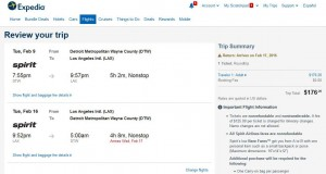 Detroit-Los Angeles: Expedia Booking Page
