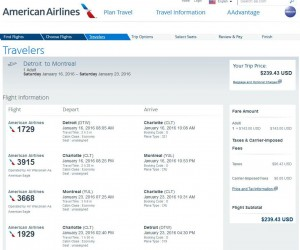Detroit-Montreal: American Airlines Booking Page
