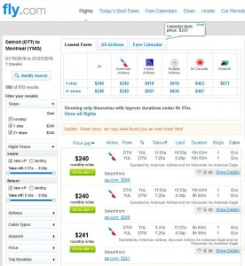 Detroit-Montreal: Fly.com Search Results
