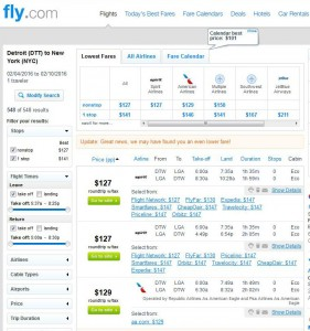 Detroit-New York City: Fly.com Search Results