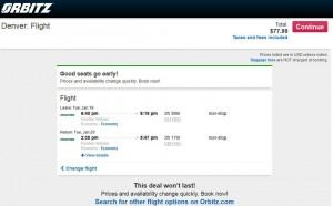Houston-Denver: Orbitz Booking Page
